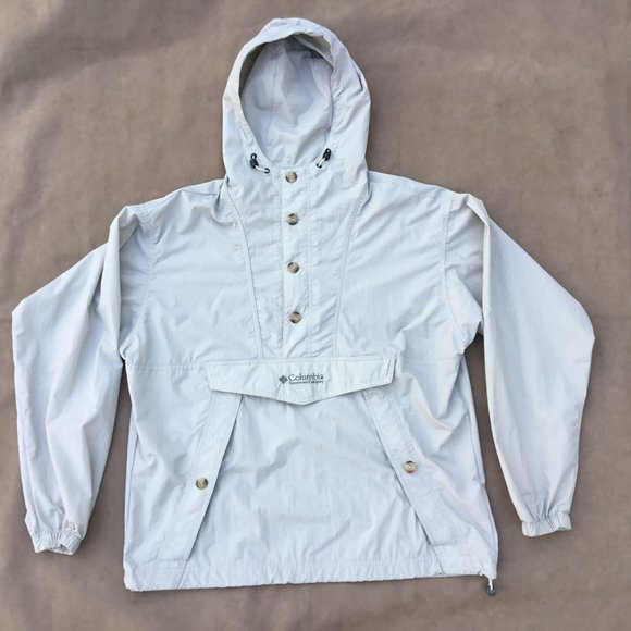 Columbia 3/4 Button Hooded Nylon Pullover Jacket